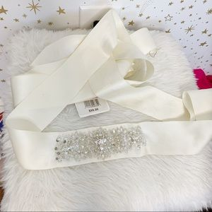 NWT David's Bridal | Ivory Satin Beaded Belt Sash